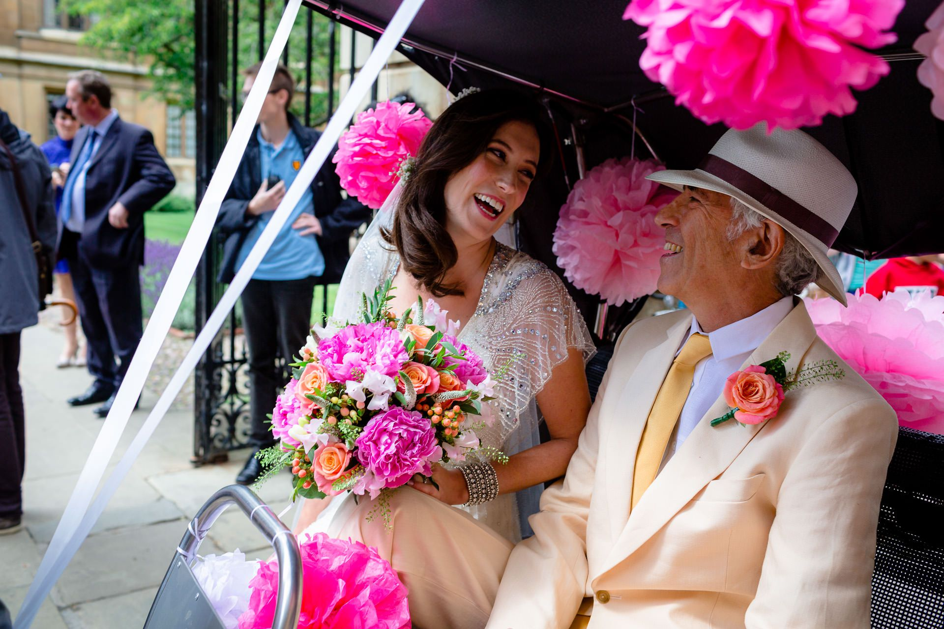 julia with flowers and her father