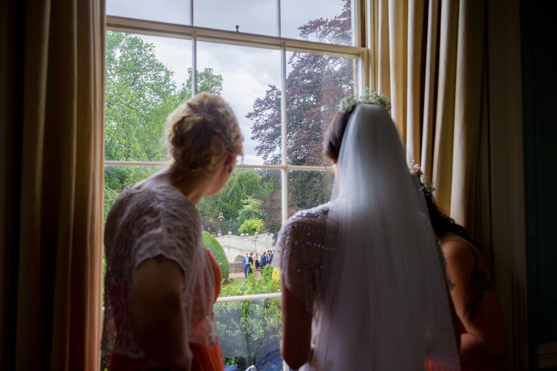 bride looks threw the window