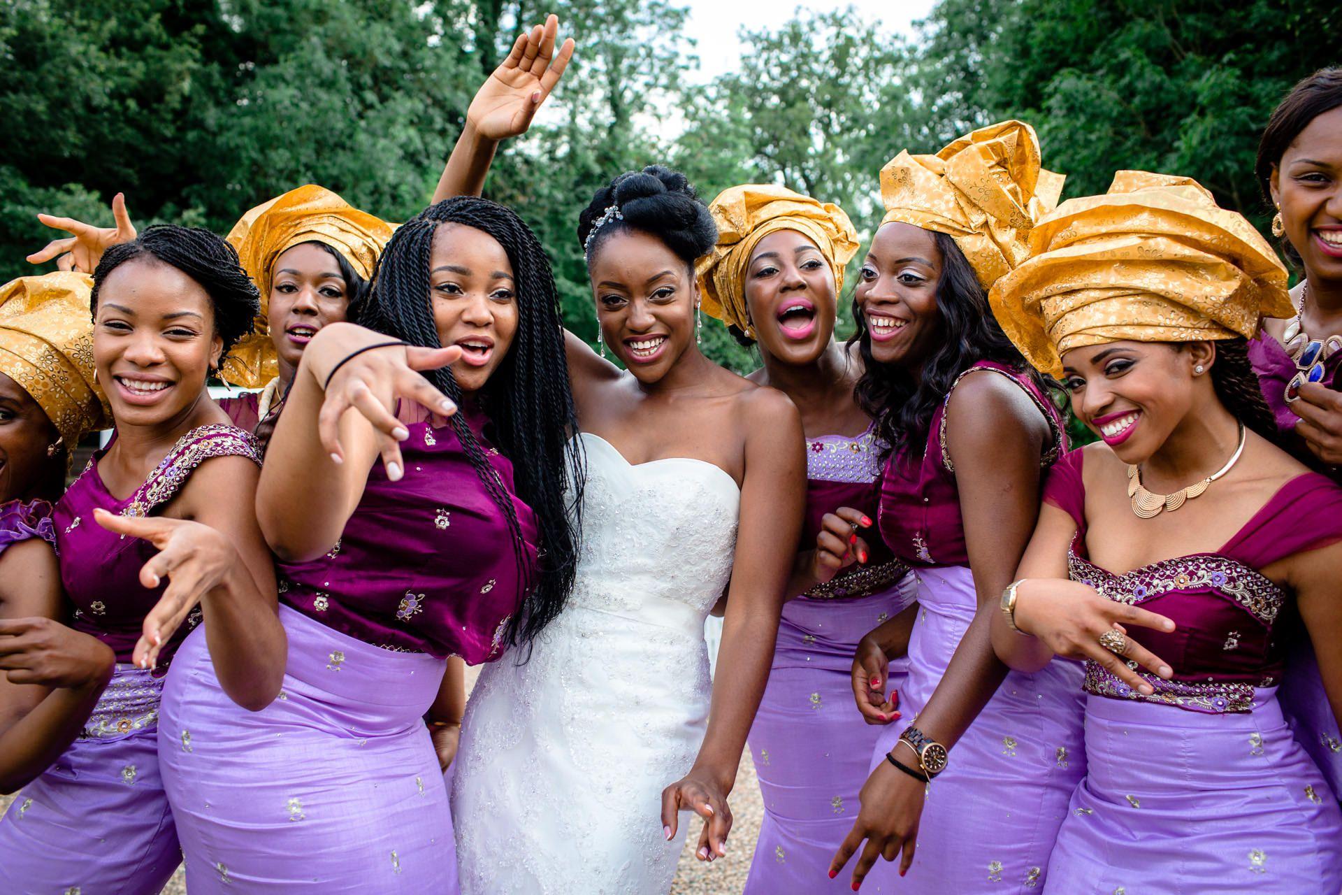 Nigerian Wedding Photographers bride and bridesmaids London
