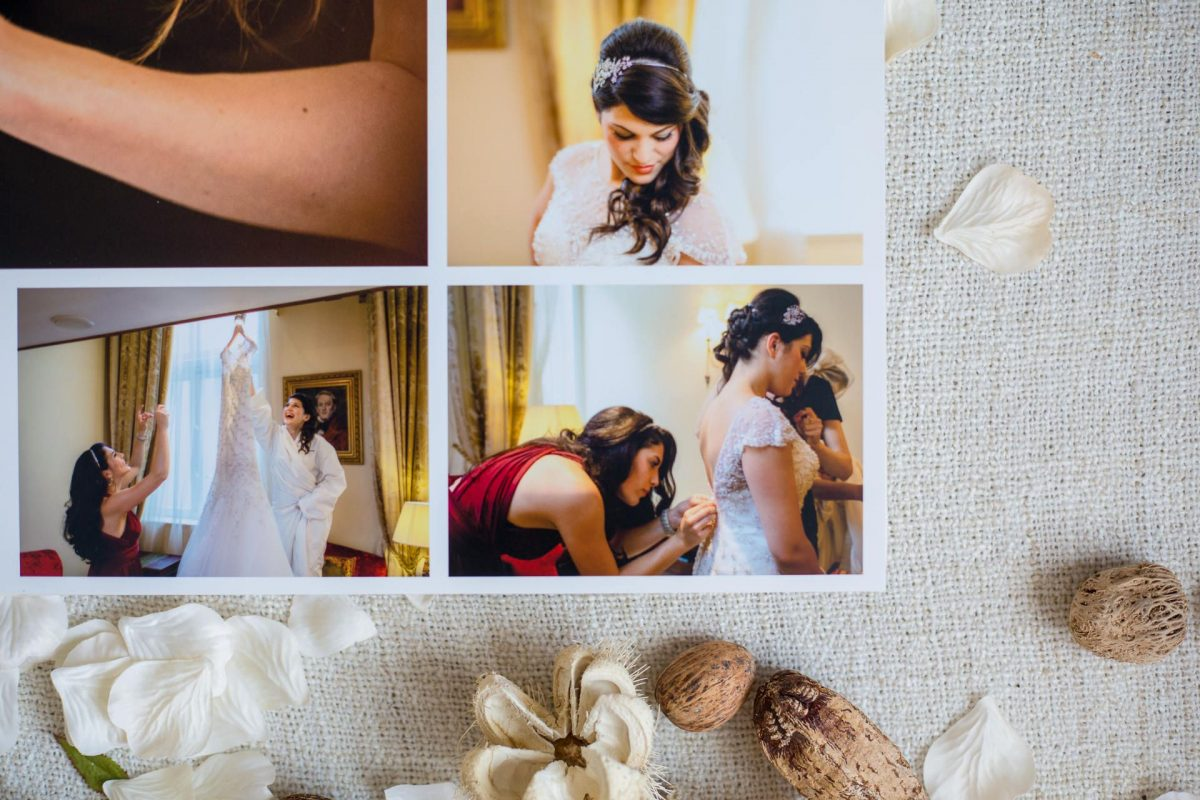 view of the layout of wedding photography album