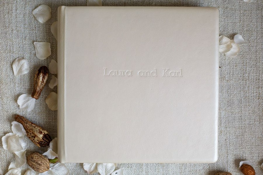 Full size wedding album with leather cover in perl matt color