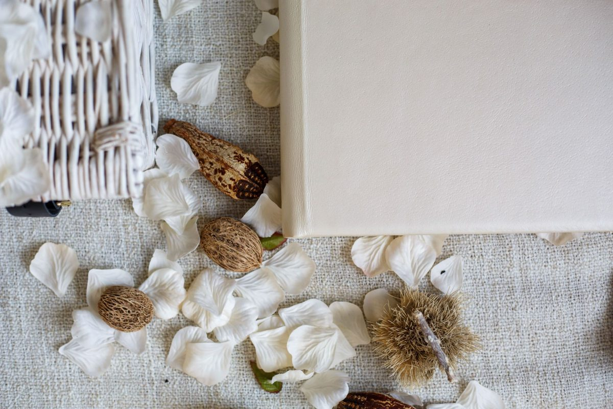 wedding photography album cover with come flower petals in perl matt color leather cover