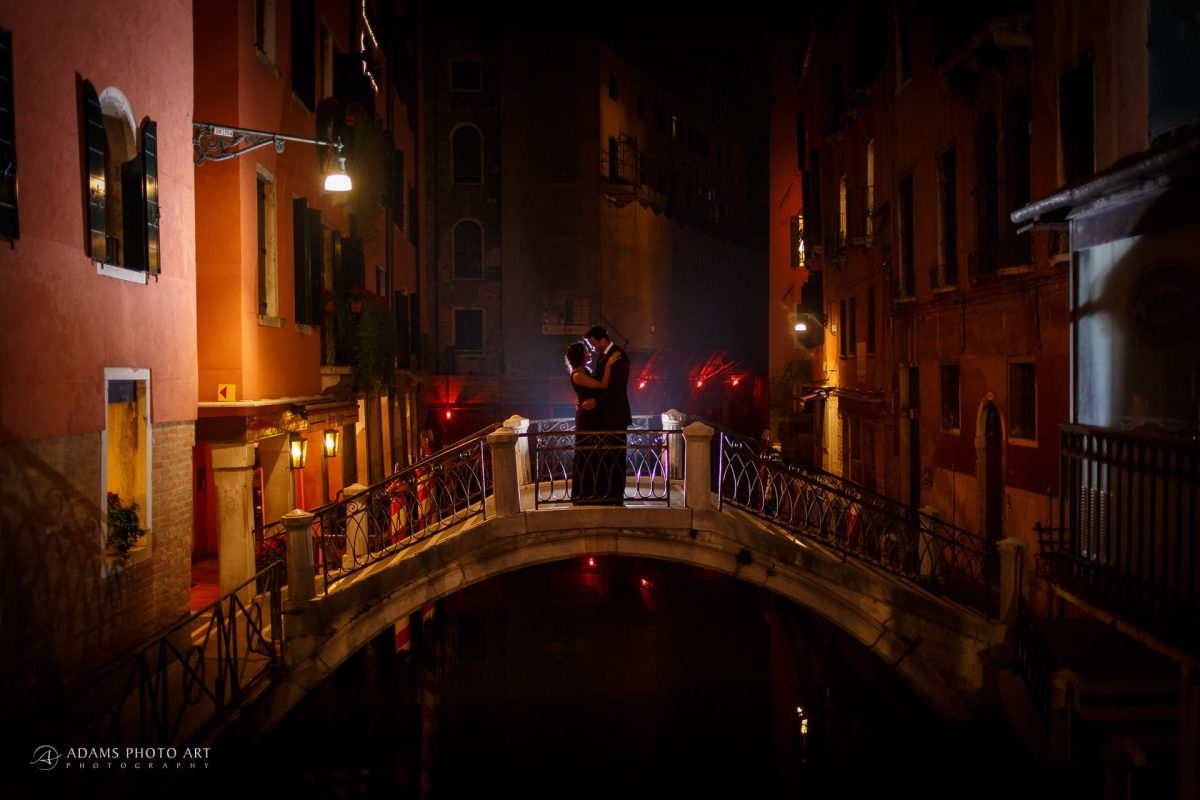 engagement bridge for the couple shot in the evening