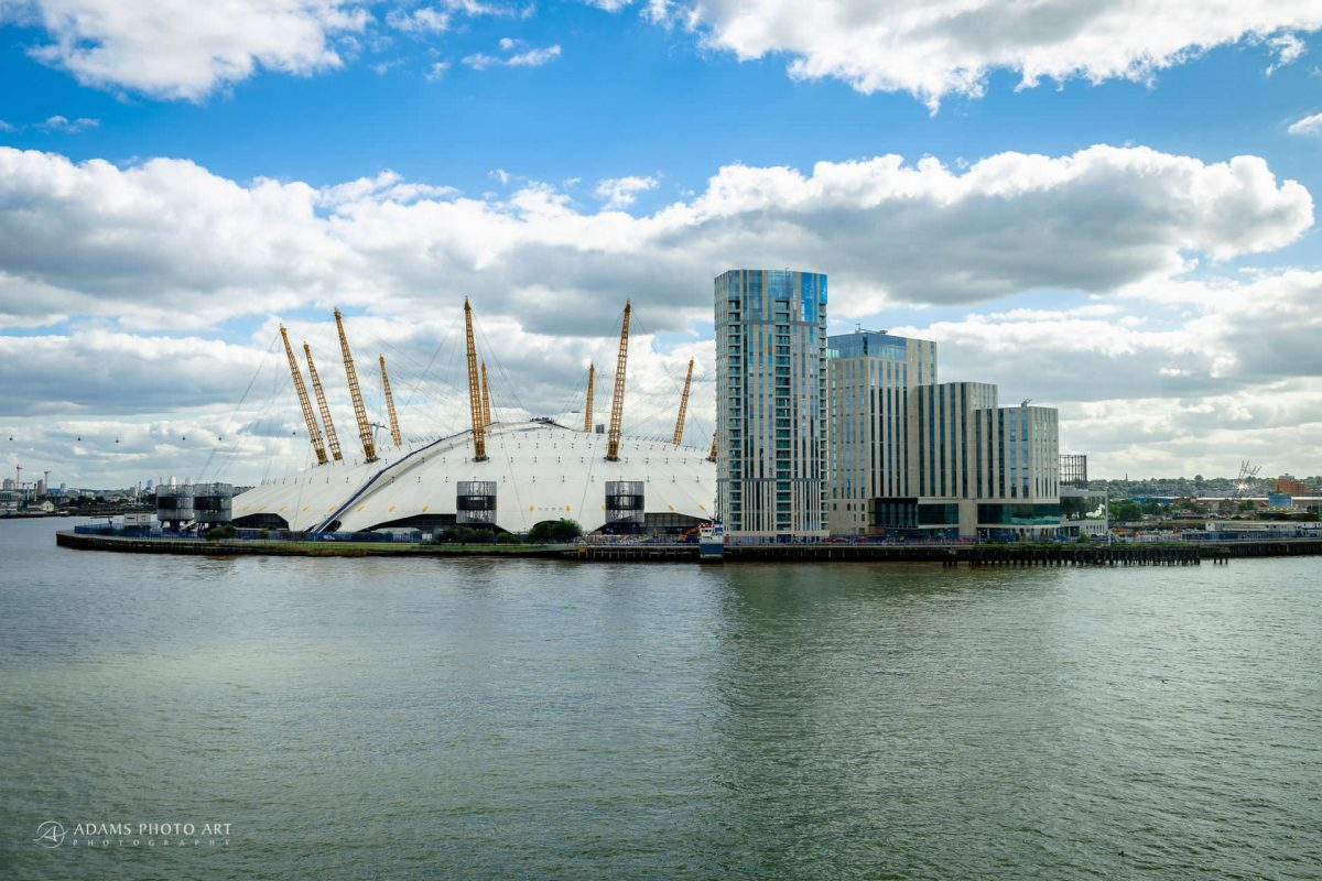 view on o2 arena from trinity buoy wharf
