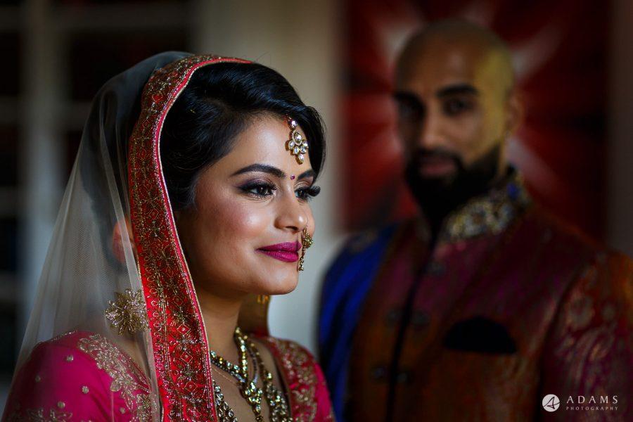 Asian Wedding Bride and Groom portrait in Sari