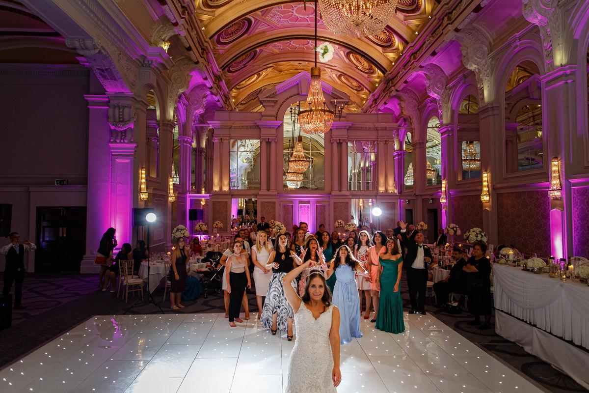 Greek Wedding bouquet toss