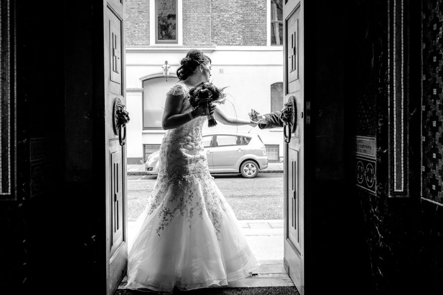 Greek Wedding bride entering the church
