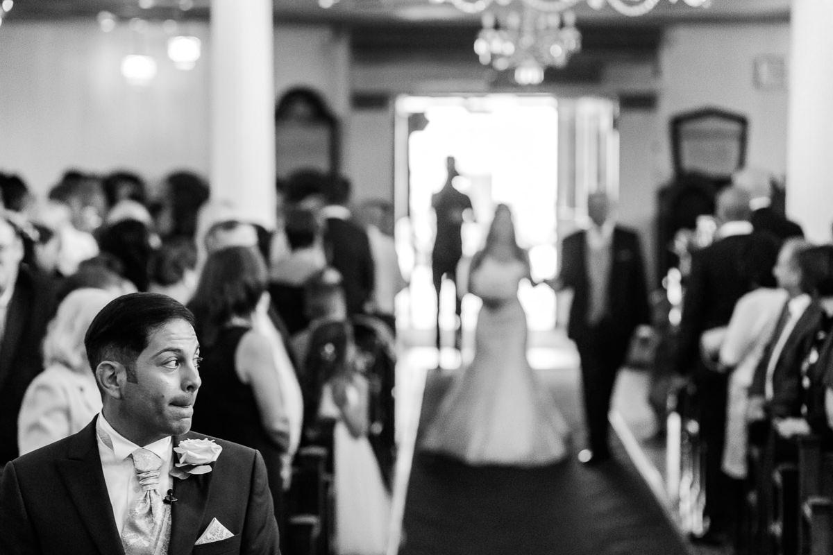 Greek Wedding bride walking down the aisle
