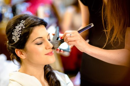 Greek Wedding Photo of bride getting ready