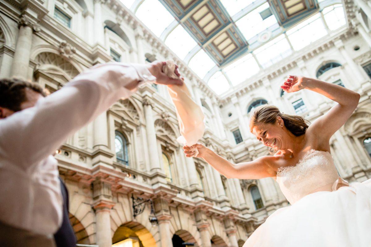 bride dancing on her wedding in london