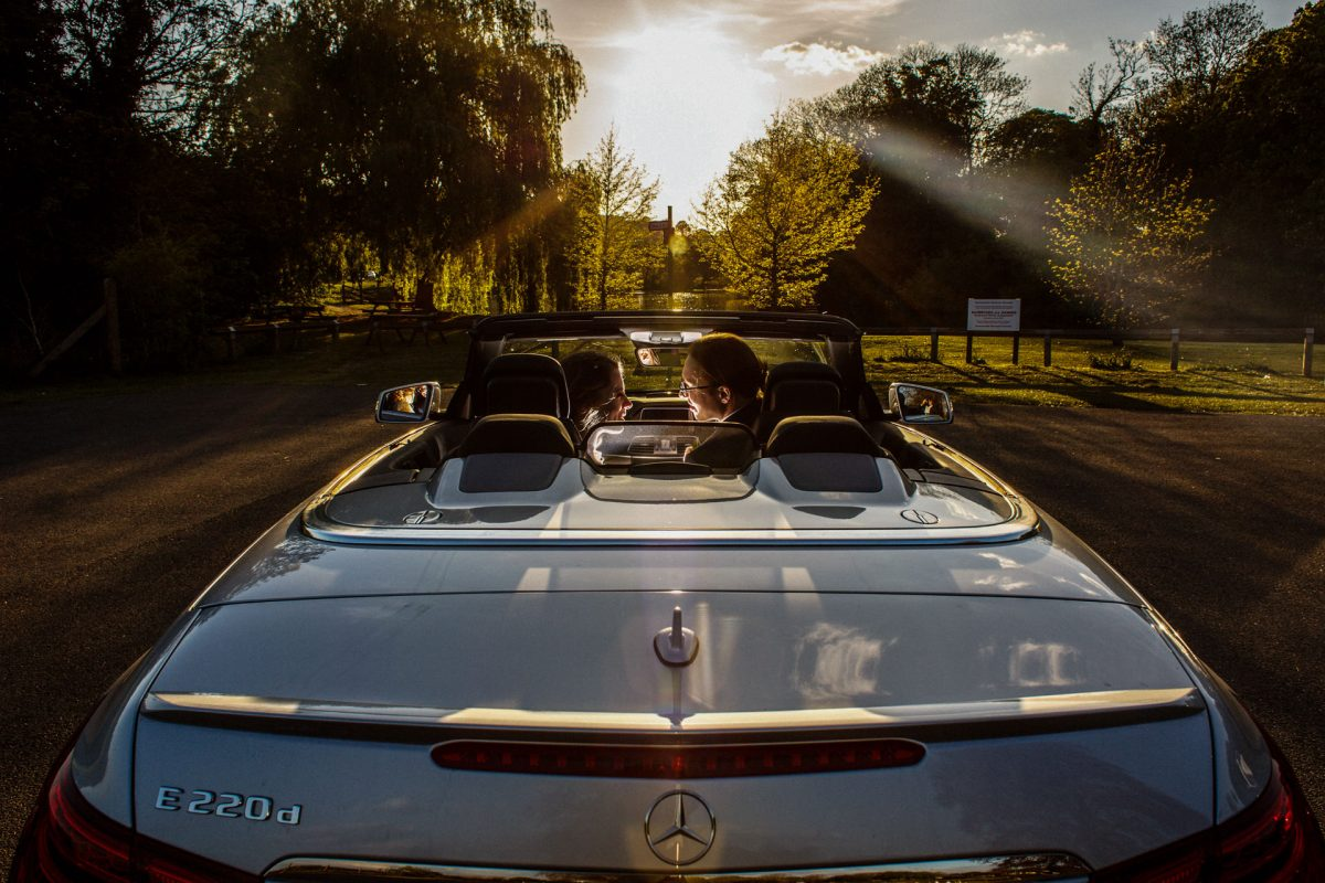 London Wedding Photography Portfolio couple in the car