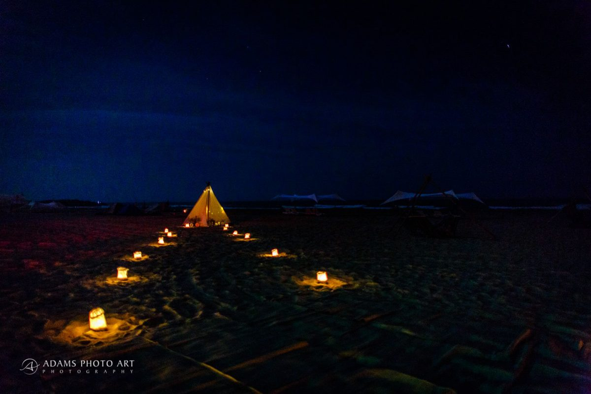 beach at night during the destination wedding of josefin and asaf