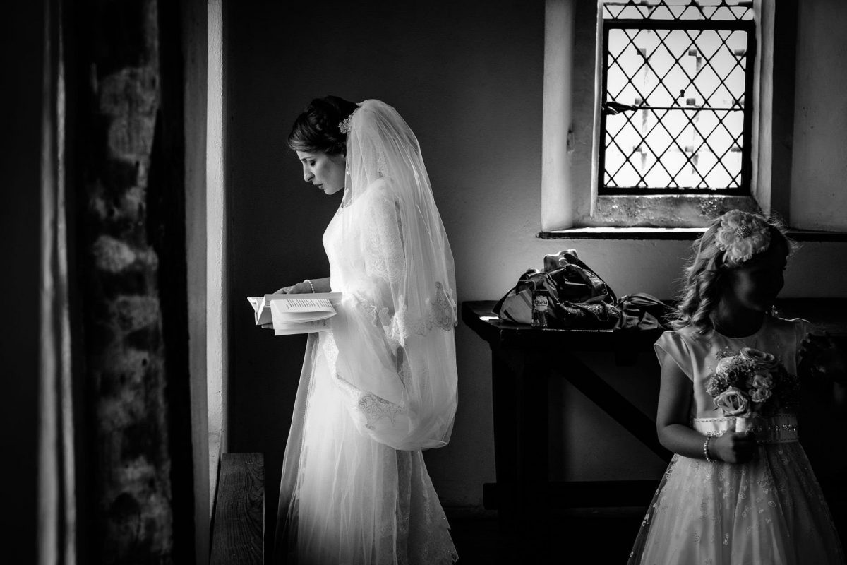 bride before her wedding ceremony in london