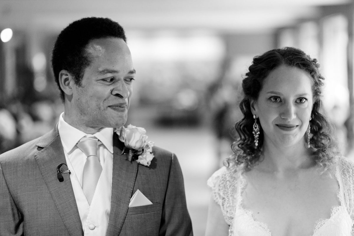 black and white picture od the married couple from portfolio of photographer for wedding london