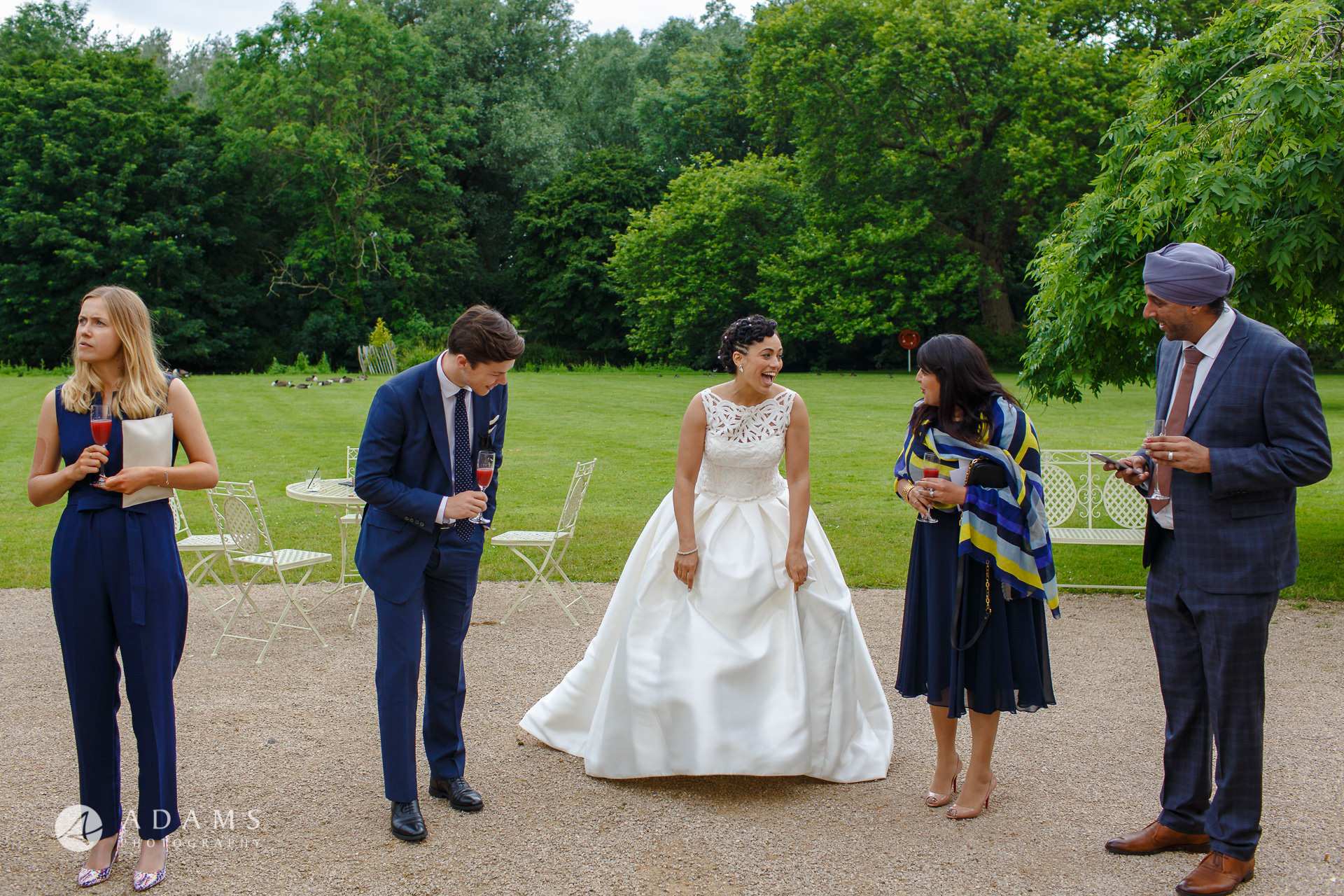 Morden HallWedding bride and groom in front of Morden Hall