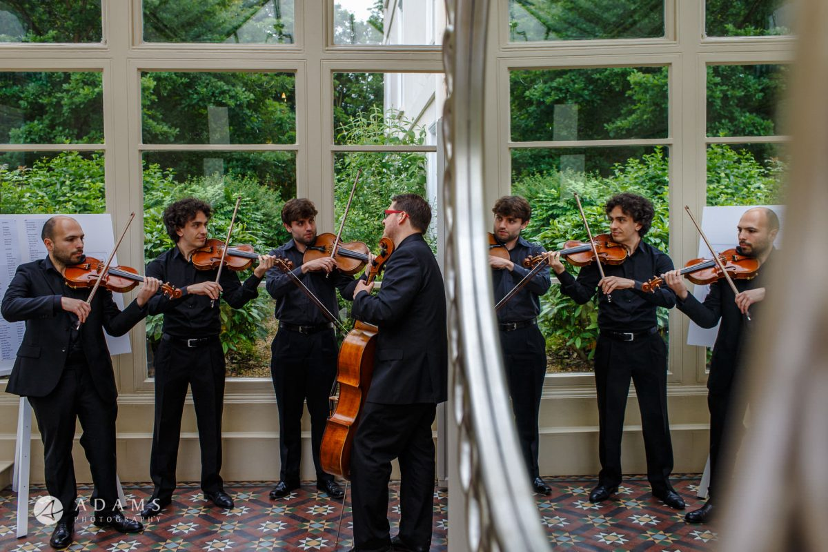 violin quartet at Morden Hall wedding