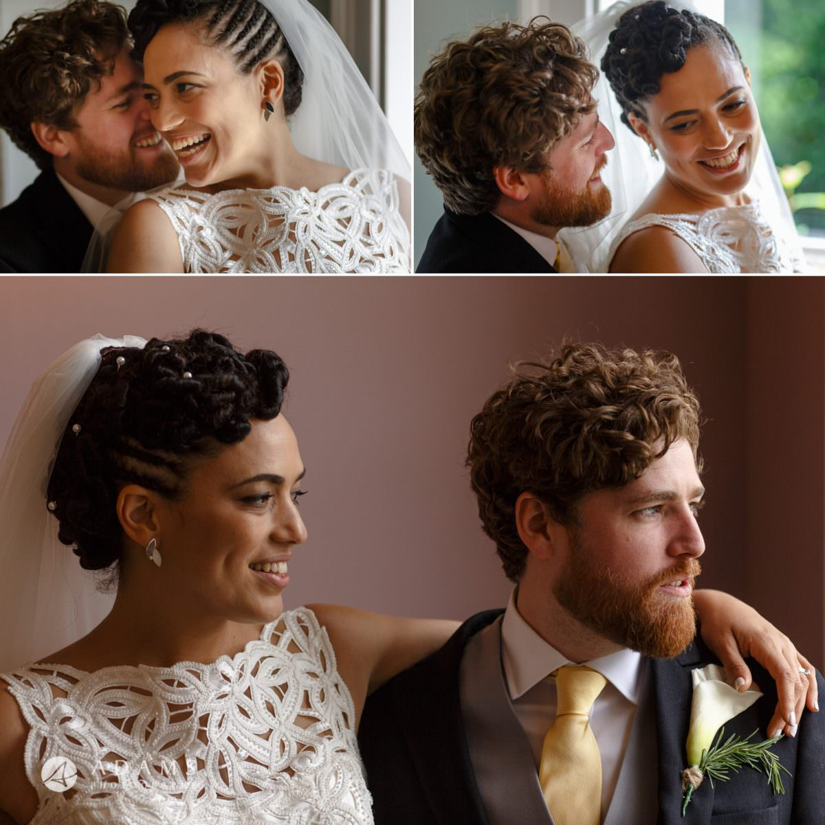 bride and groom portraits at Morden Hall