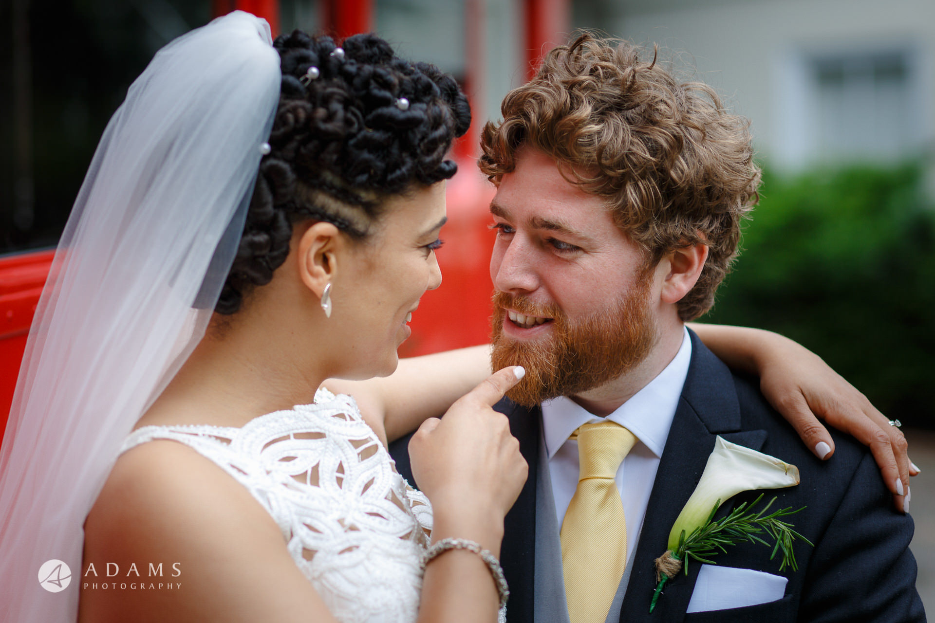 couple smiling at Morden Hall wedding