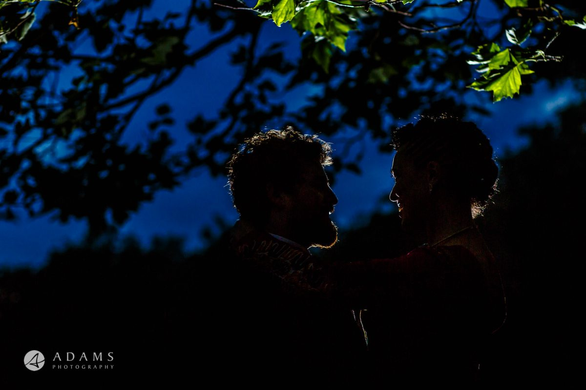 portrait silhouette of a married couple at Morden Hall