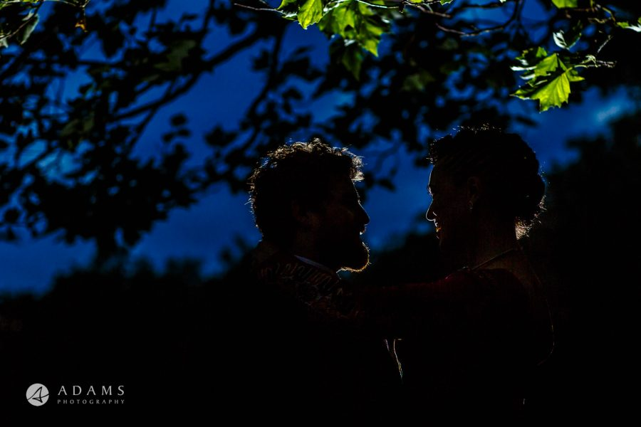 Morden Hall Wedding portrait silhouette of a married couple at Morden Hall