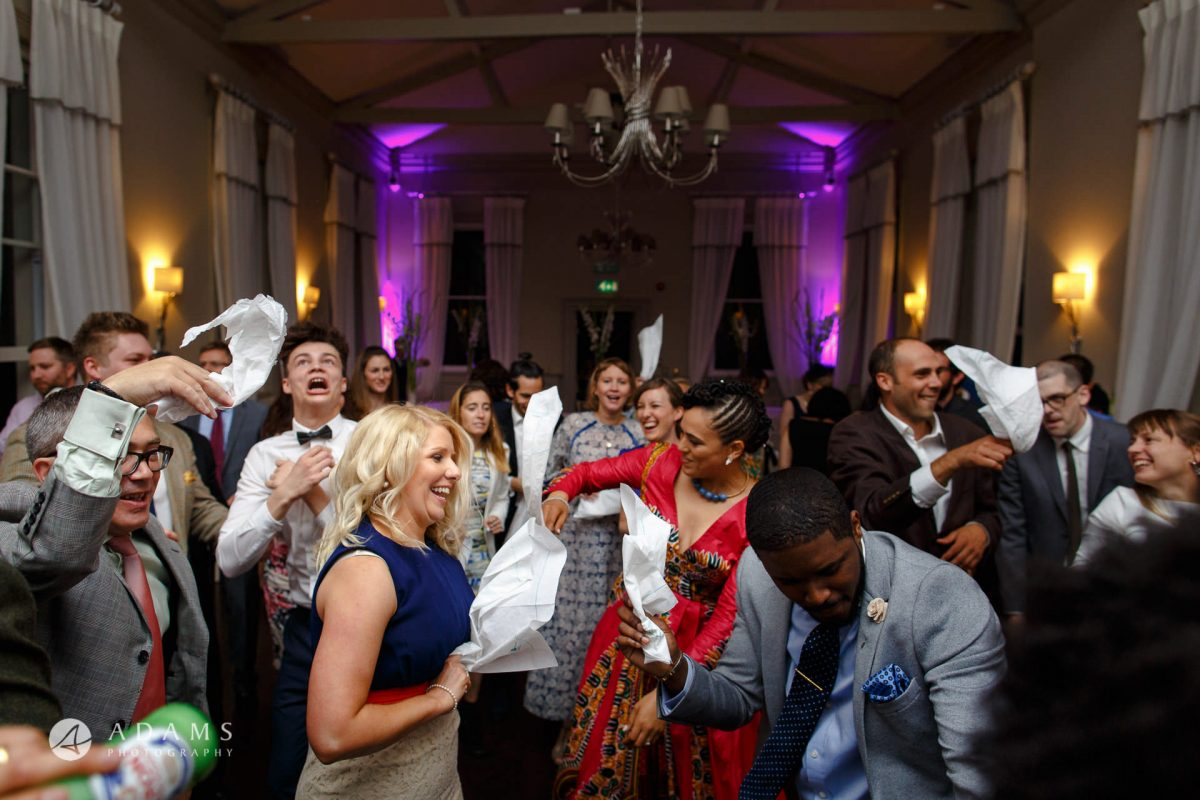 guests are dancing during the party at Morden Hall