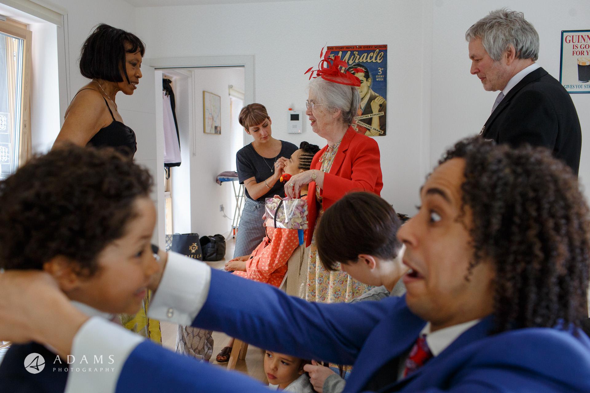 Morden HallWedding bridal preparation family is getting ready for a wedding