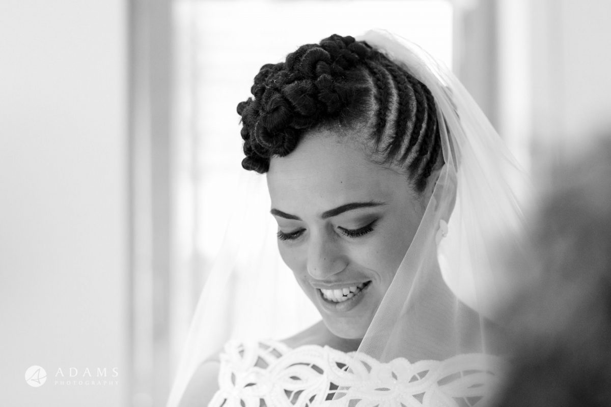 portrait of the bride by a Morden hall wedding photographer