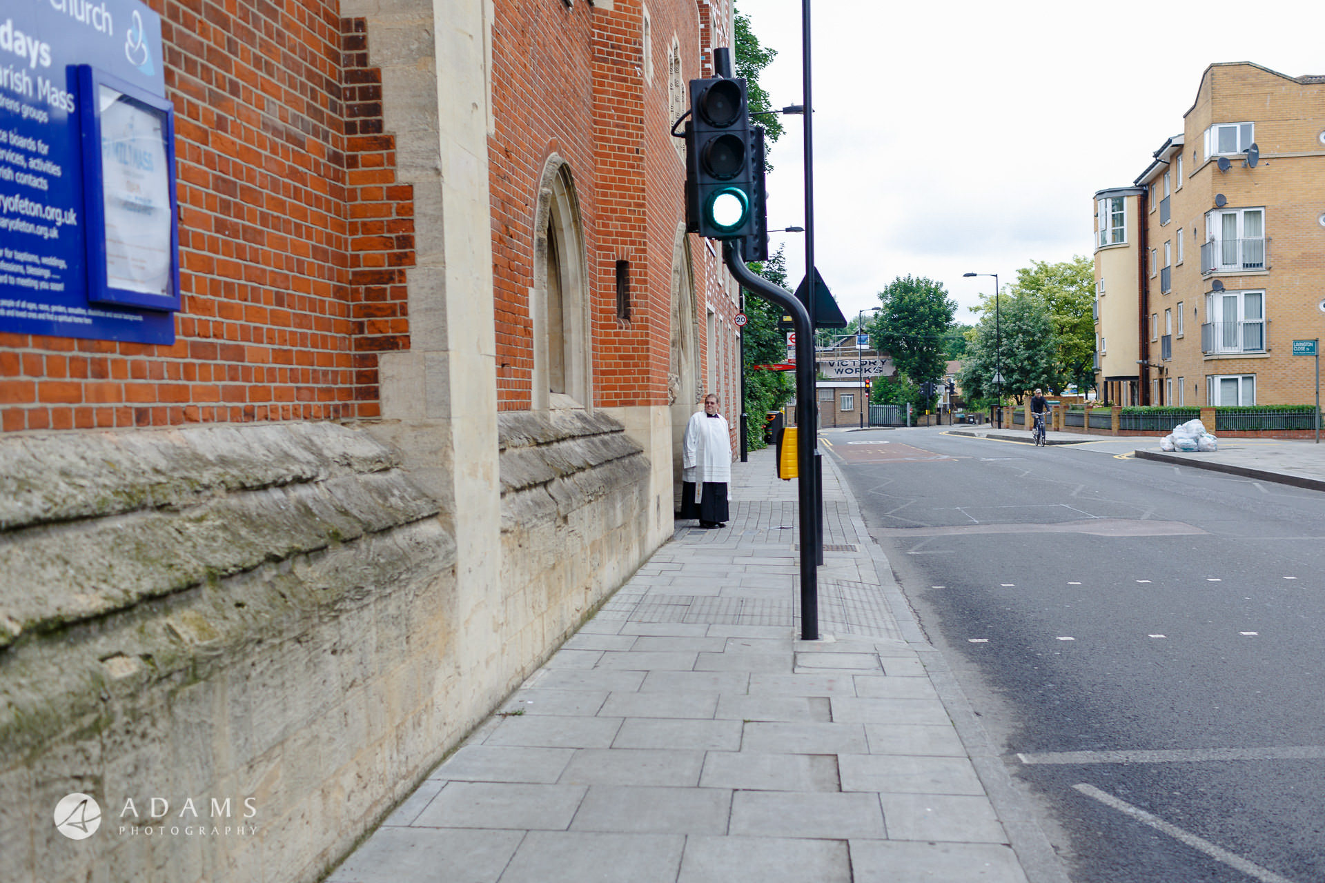 prist Chris is waiting for the bride to arrive the st mary of eton church hackney wick