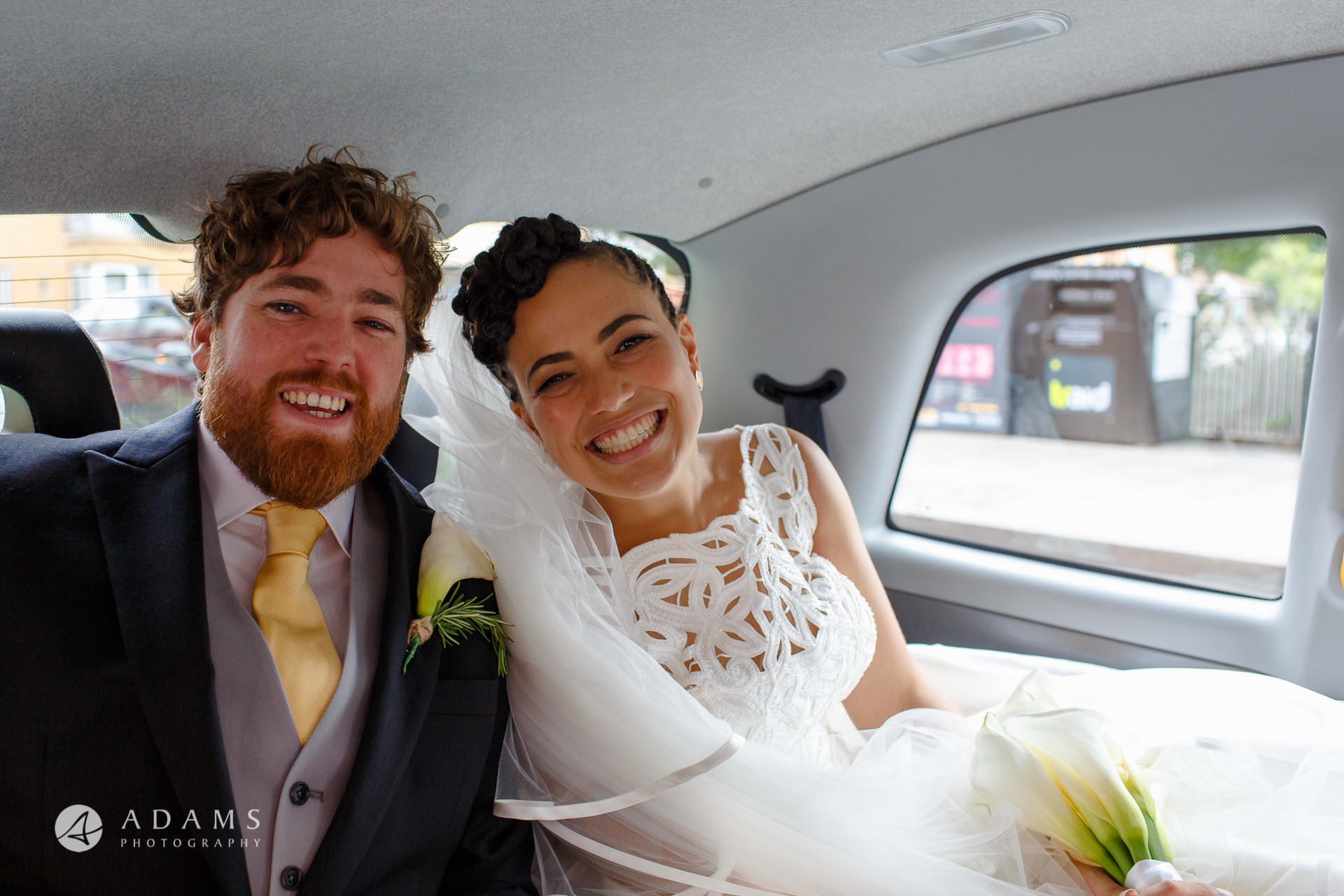 married couple are smiling to the camera before they go to Morden Hall