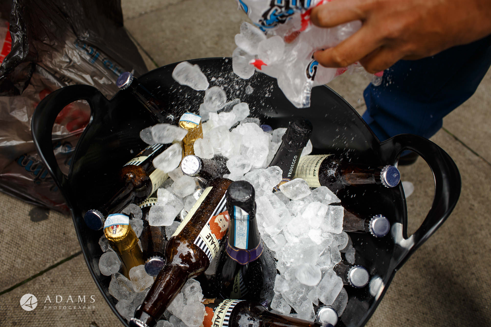 beers and ice in a bucket