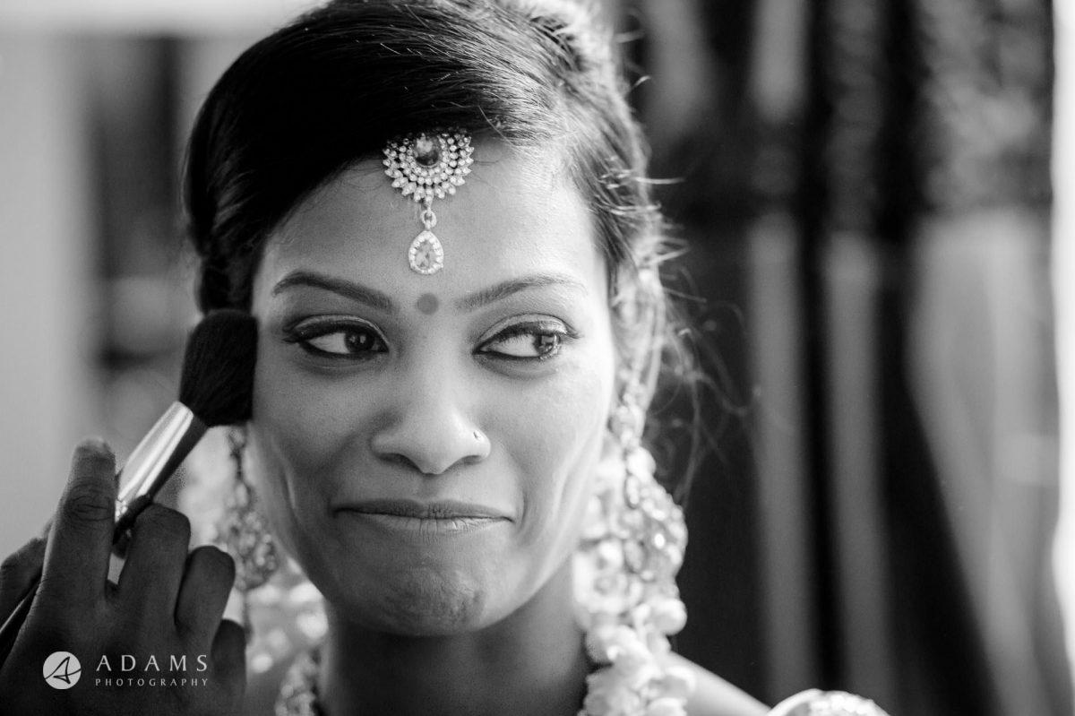 black and white photo of bride sara