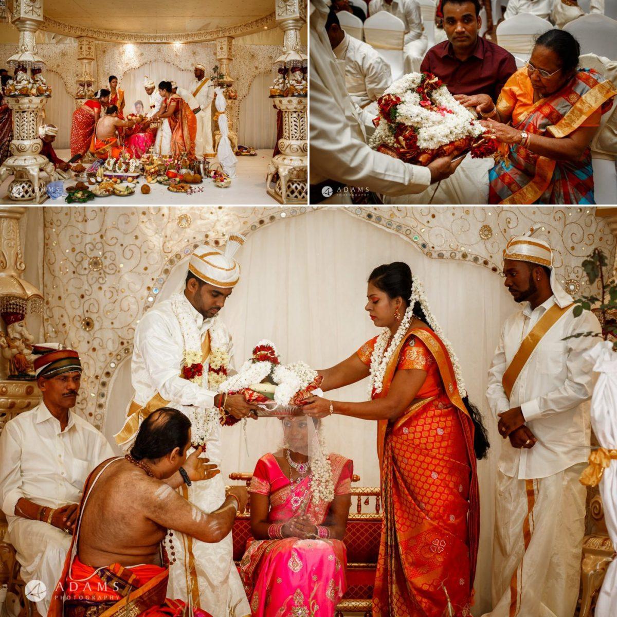 sara and anojan during the wedding ceremony