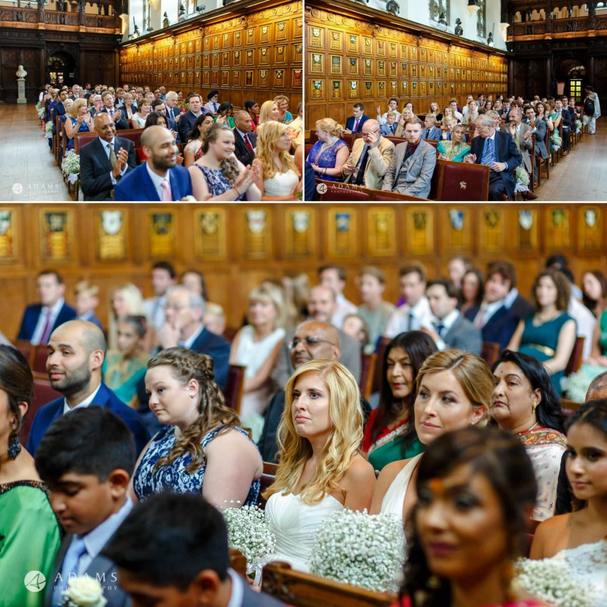 middle temple hall wedding guests look at the ceremony