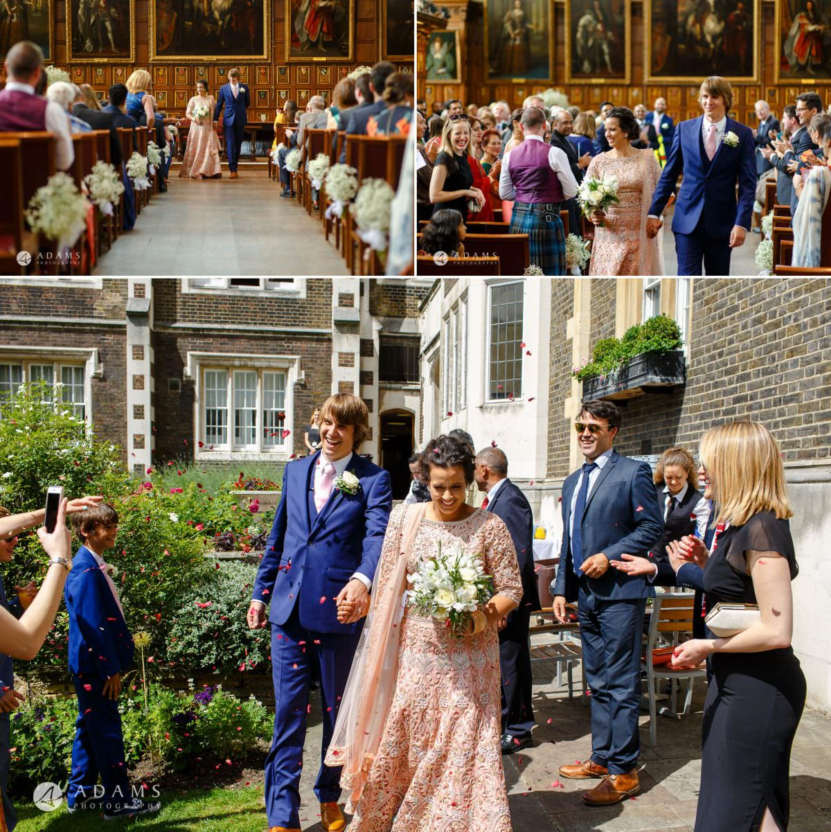 middle temple hall wedding confetti shot