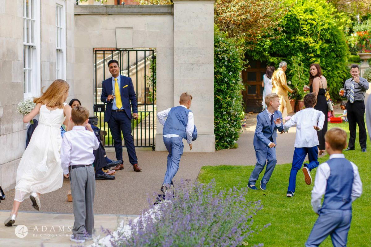 middle temple hall wedding kids playing and running