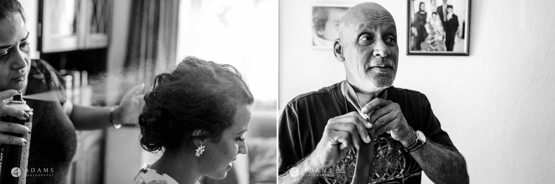 middle temple hall wedding photographer bride and her father getting ready