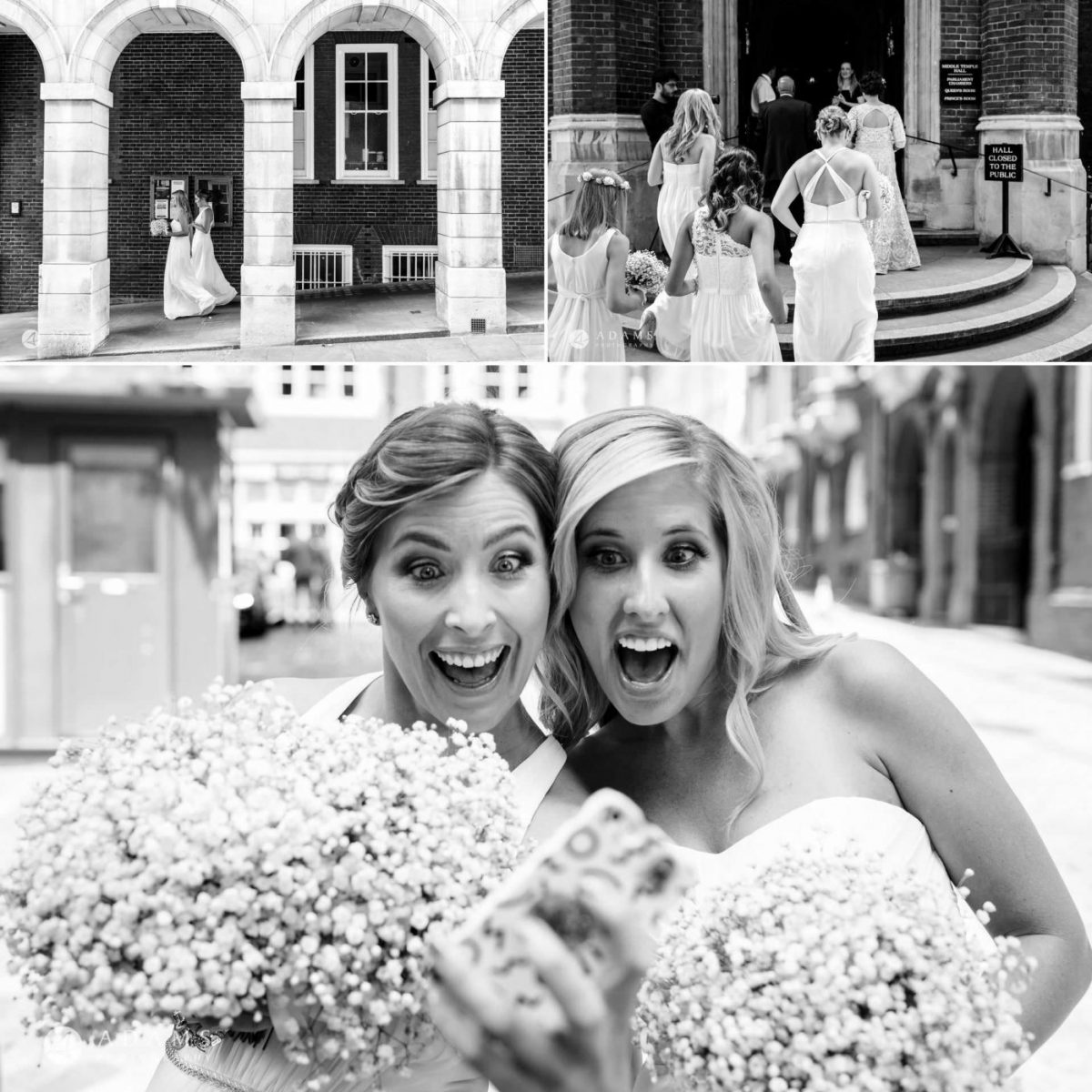 middle temple hall wedding bridesmaids portraits