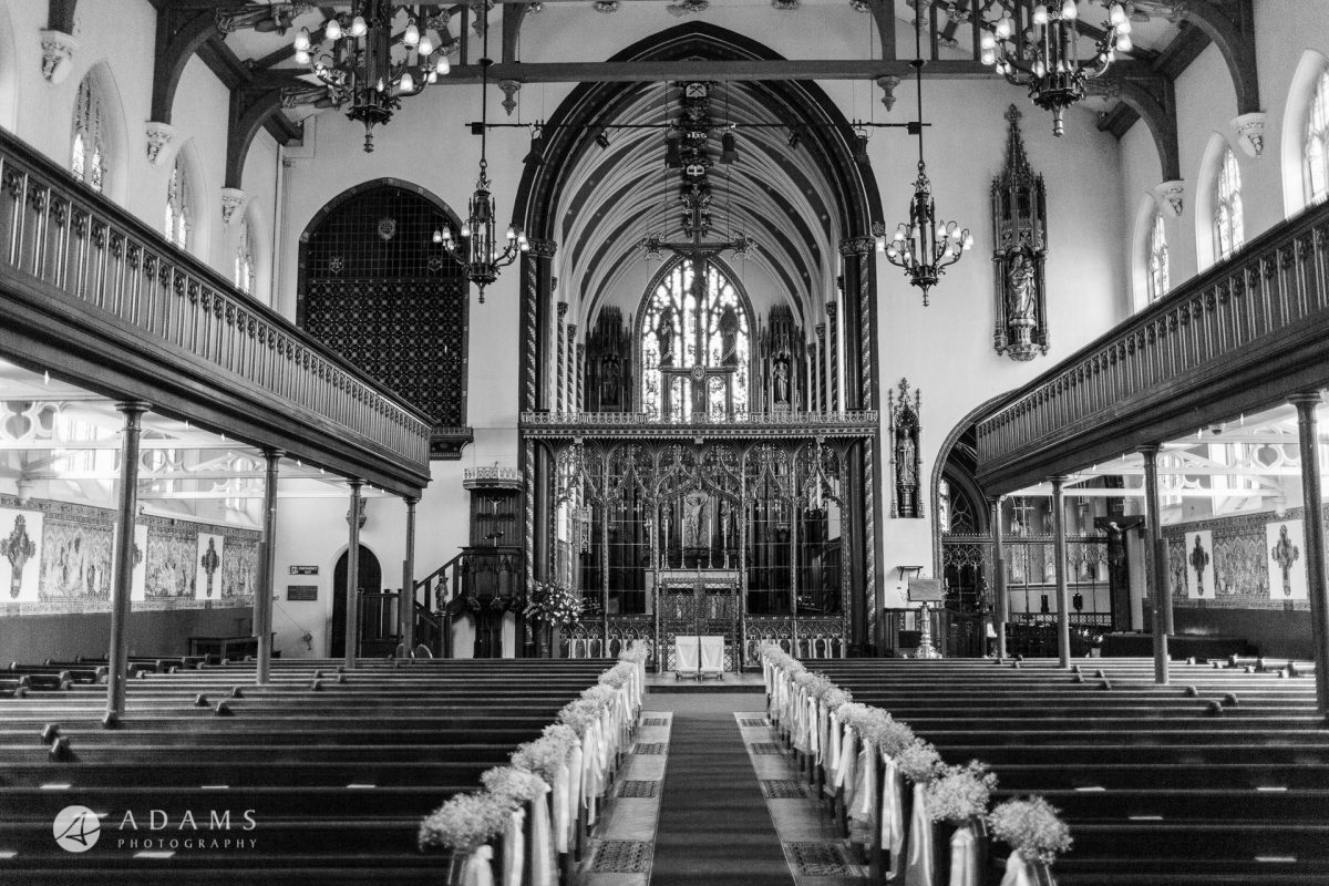 Black and White Wedding Photography church