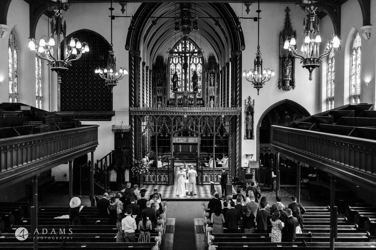 Black and White Wedding Photography church view