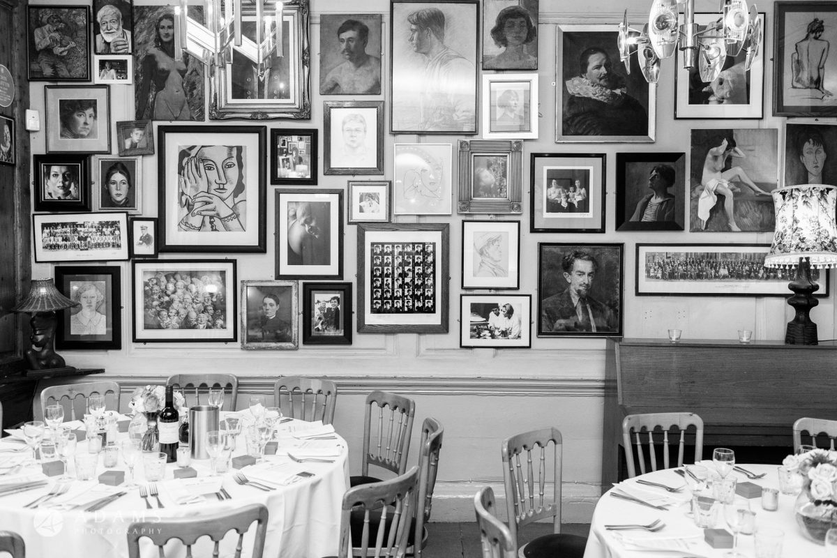 black and white wedding photos dining room
