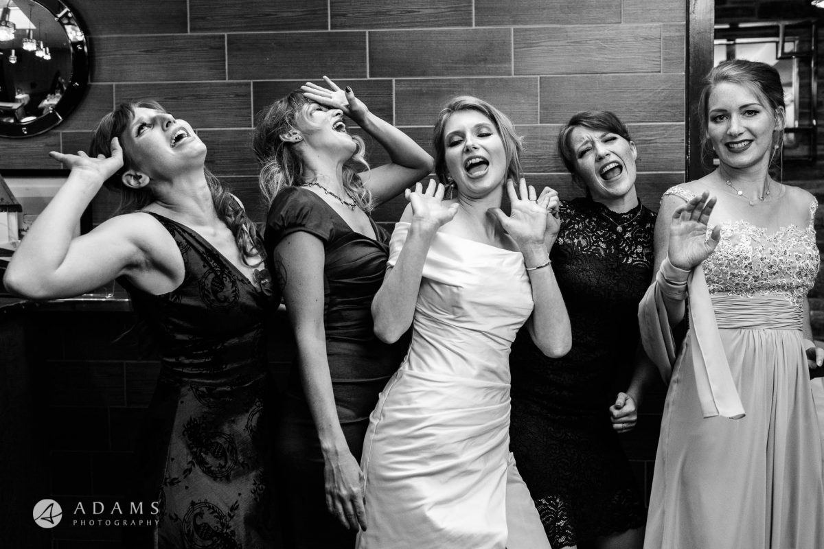 black and white wedding photos bridesmaids portrait