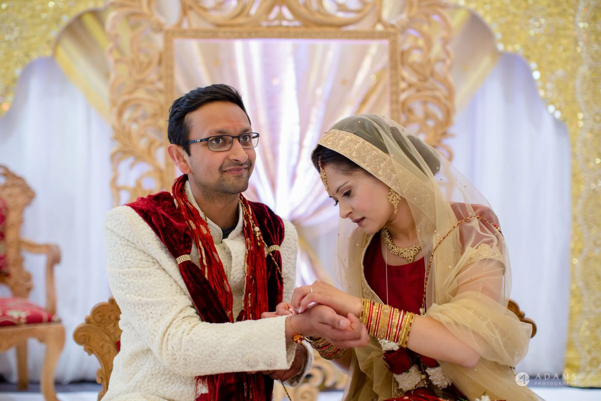 Hilton London Syon Park Asian Wedding the couple ties a knot