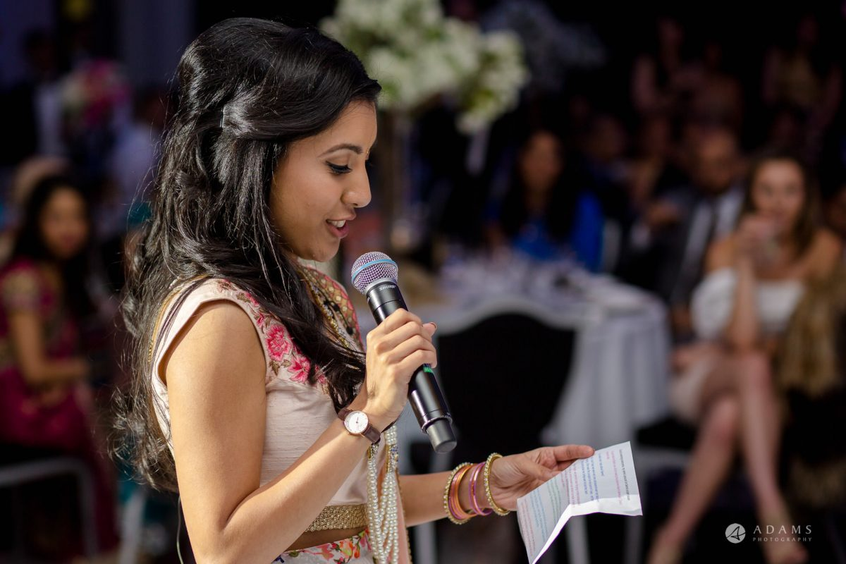 Hilton London Syon Park Asian Wedding bridesmaid speech
