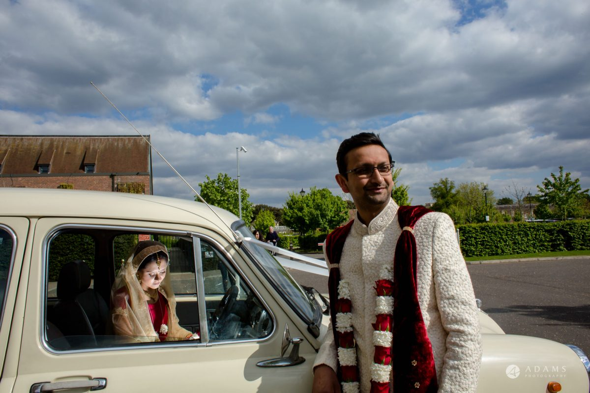 Hilton London Syon Park Asian Wedding photo with the wedding car