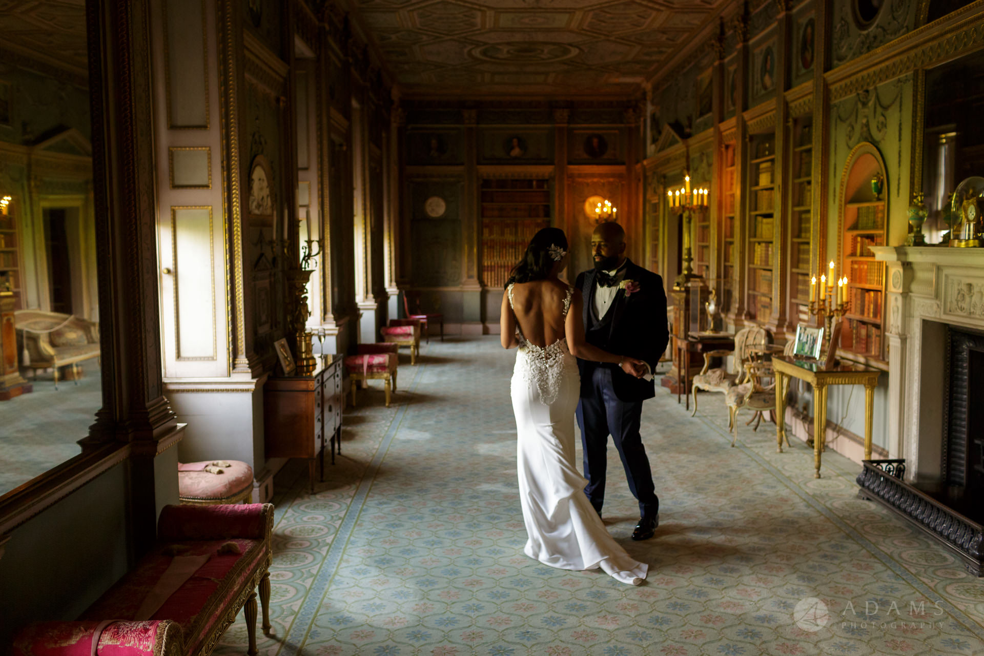 Syon Park Wedding couple in the walking room in London