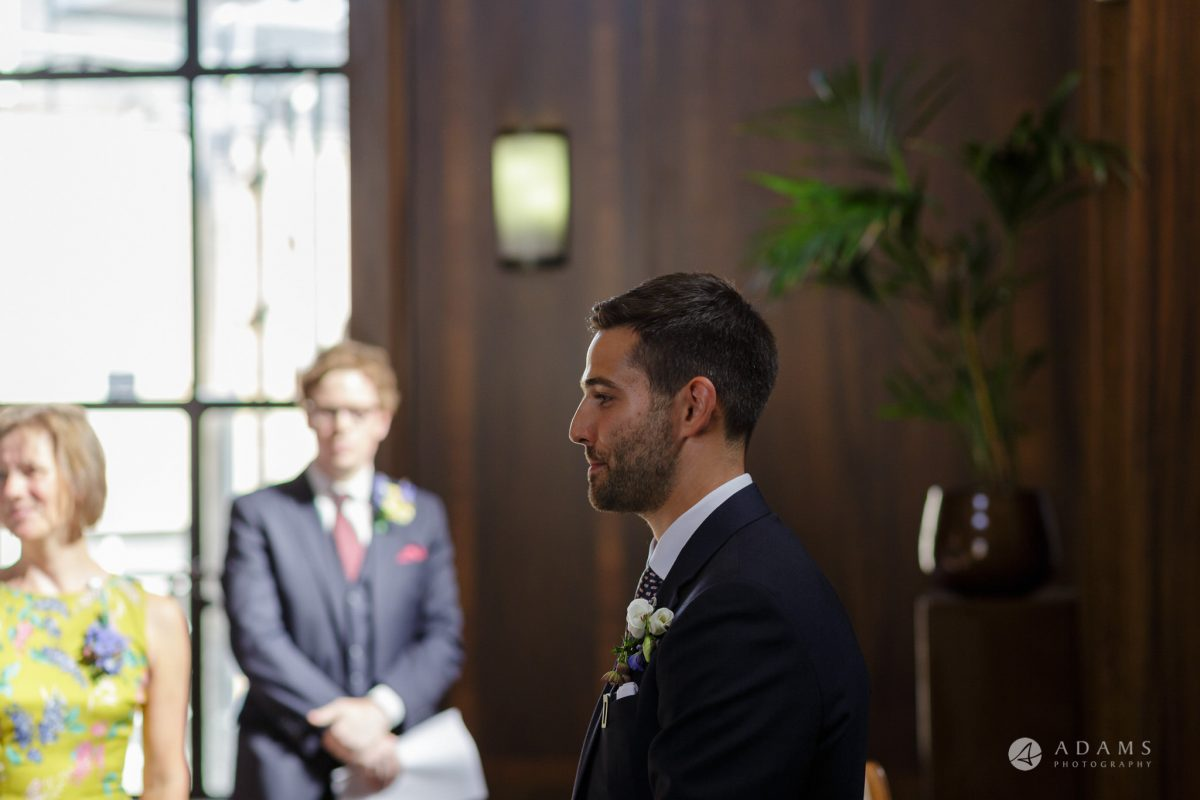 Clissold house wedding groom is pensative and a bit nervous