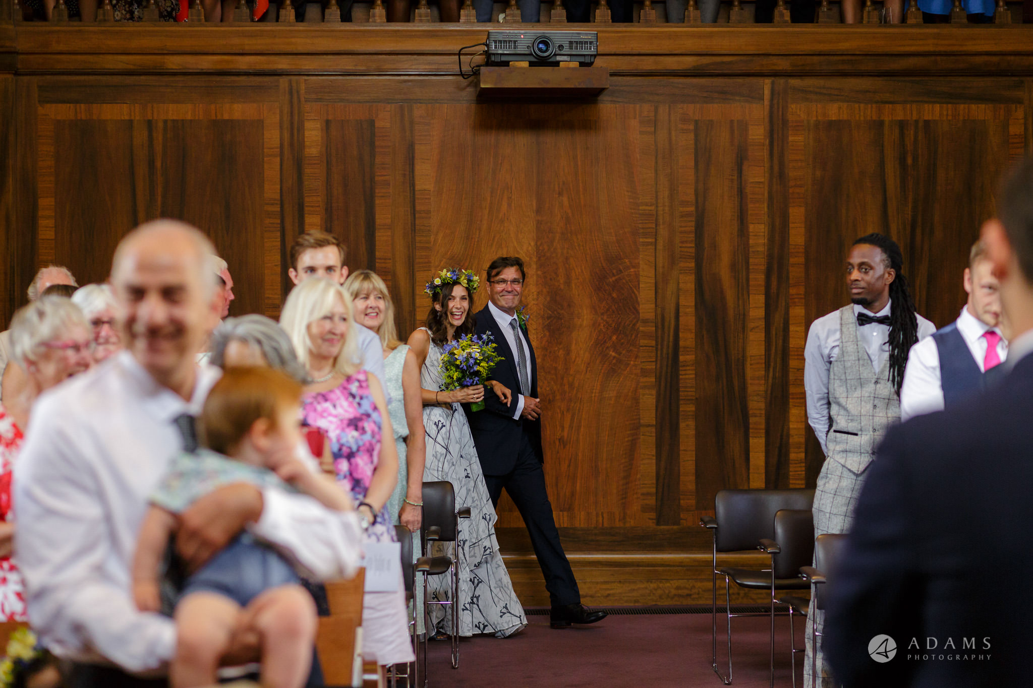 Clissold house wedding bride and the groom waling down the isle