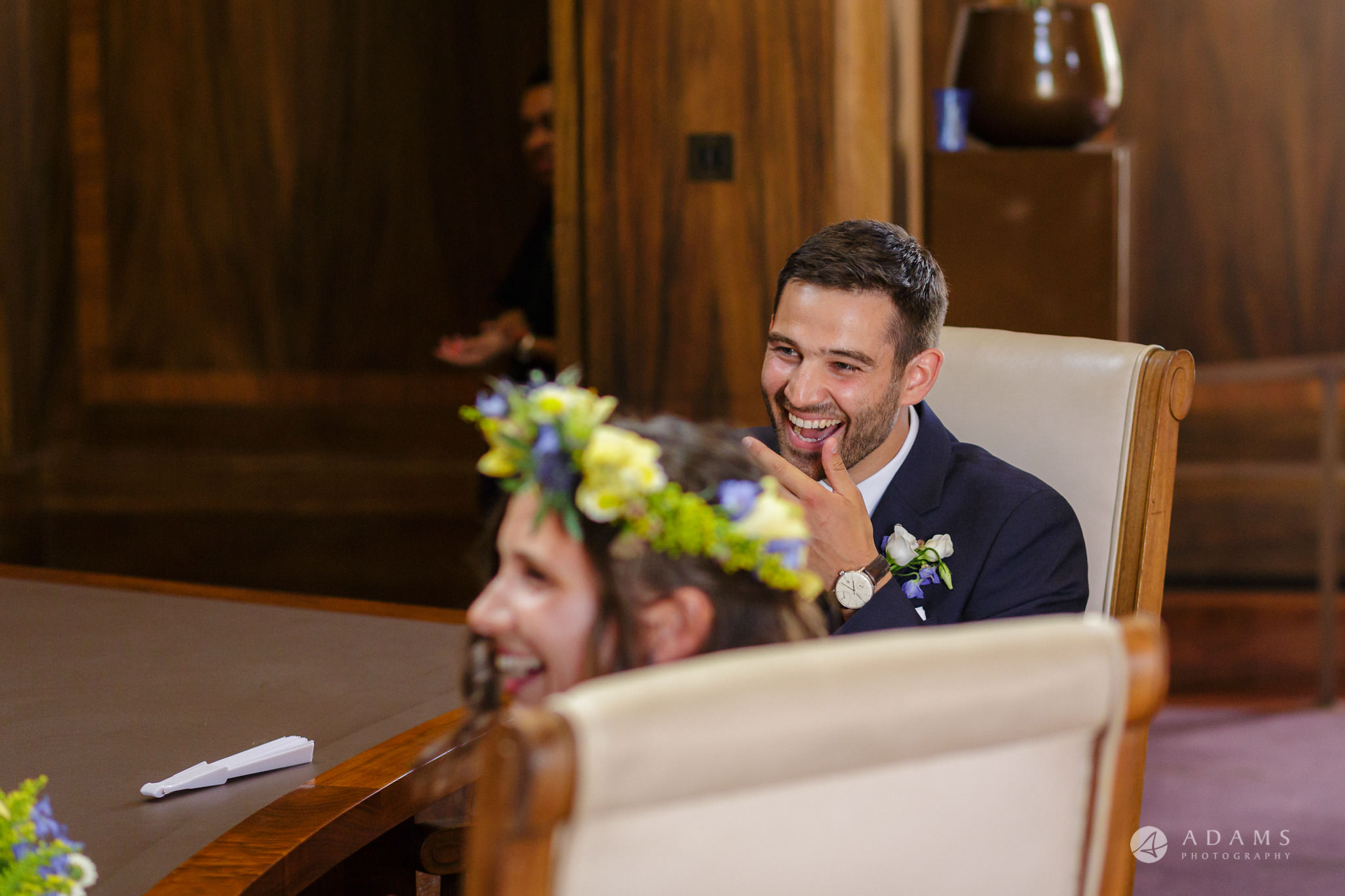 Clissold house wedding groom smiling