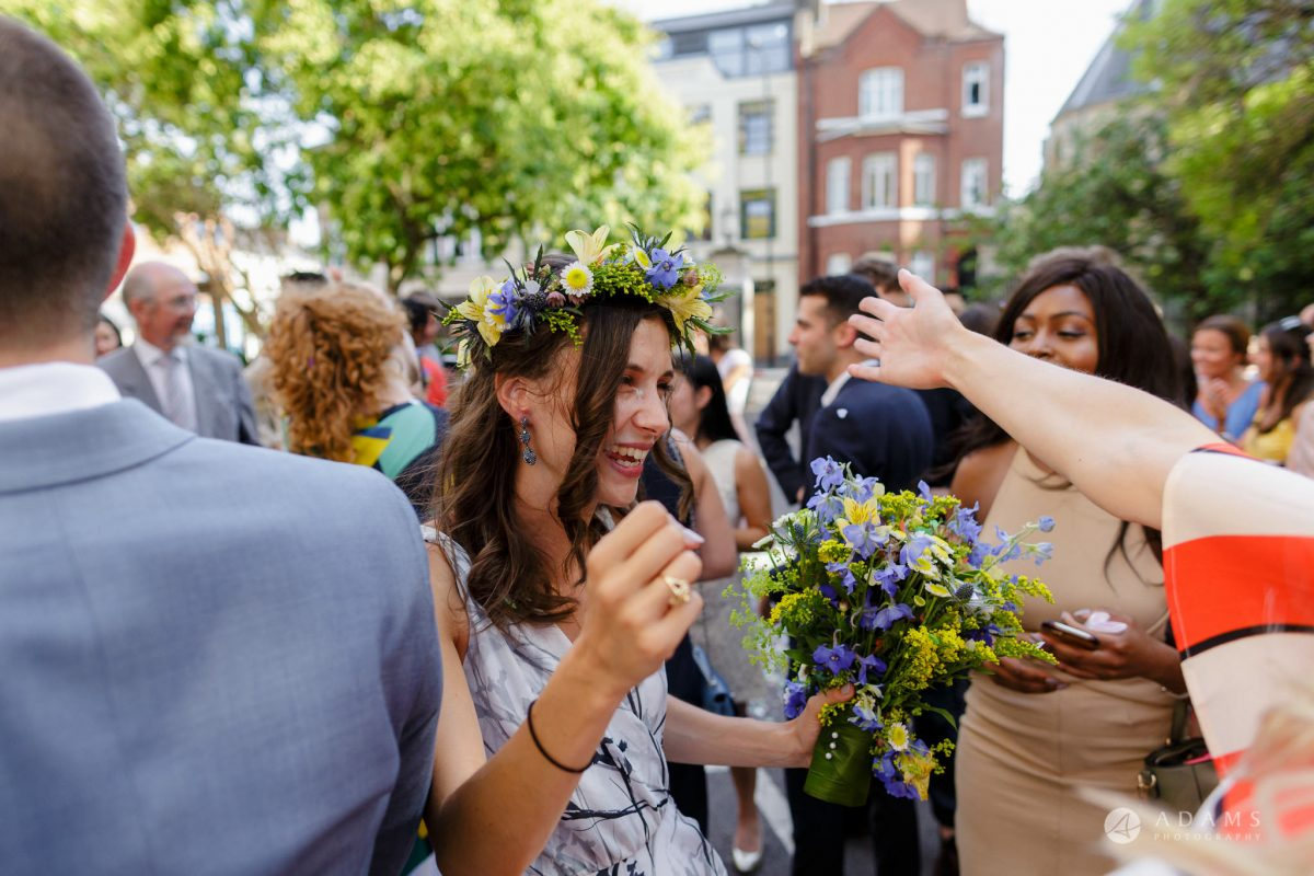 Clissold house wedding bride hugging the guests