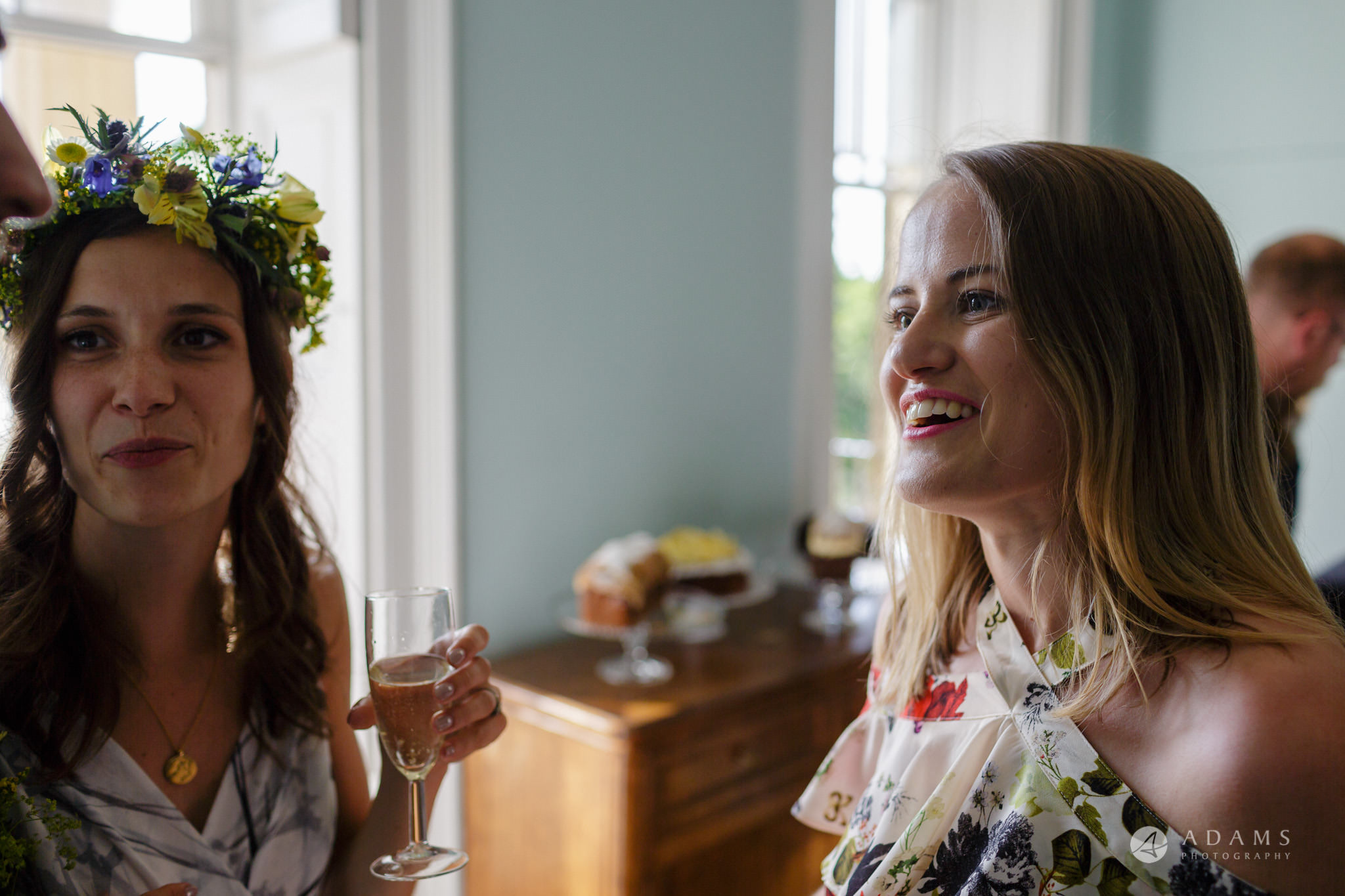 Clissold house wedding bride with her friends chatting
